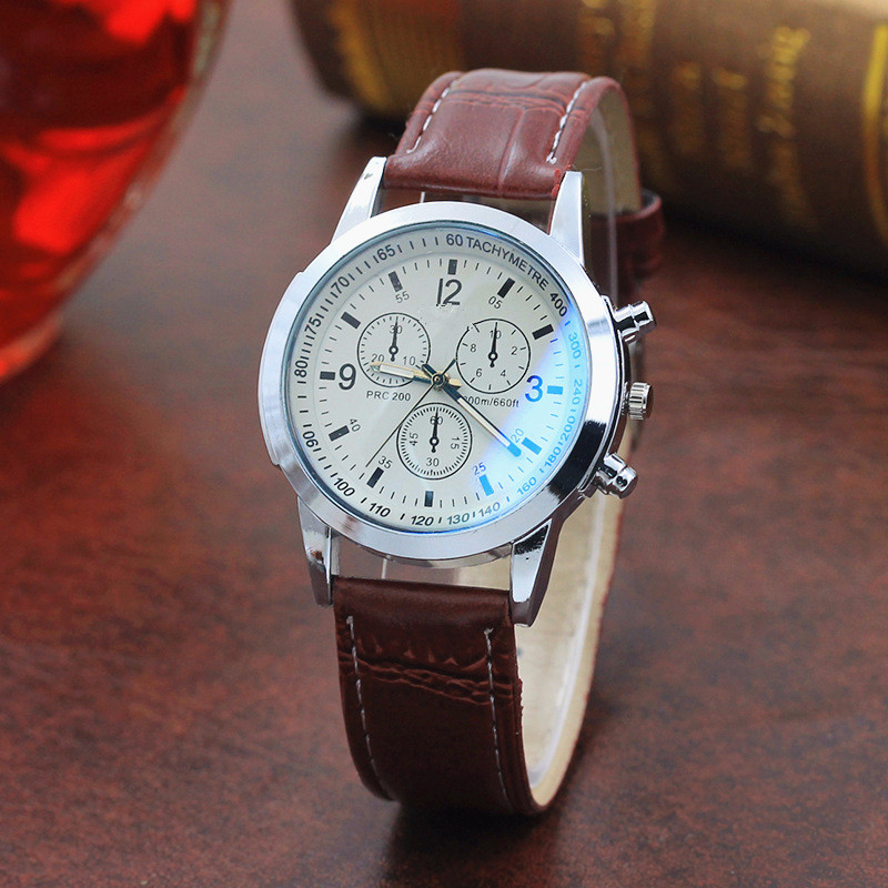Top Brand Fashion Featured Quartz Watch  Three Eyes Watch Quartz Men's Watch Leather Belt Men's Black White Glass Belt Men