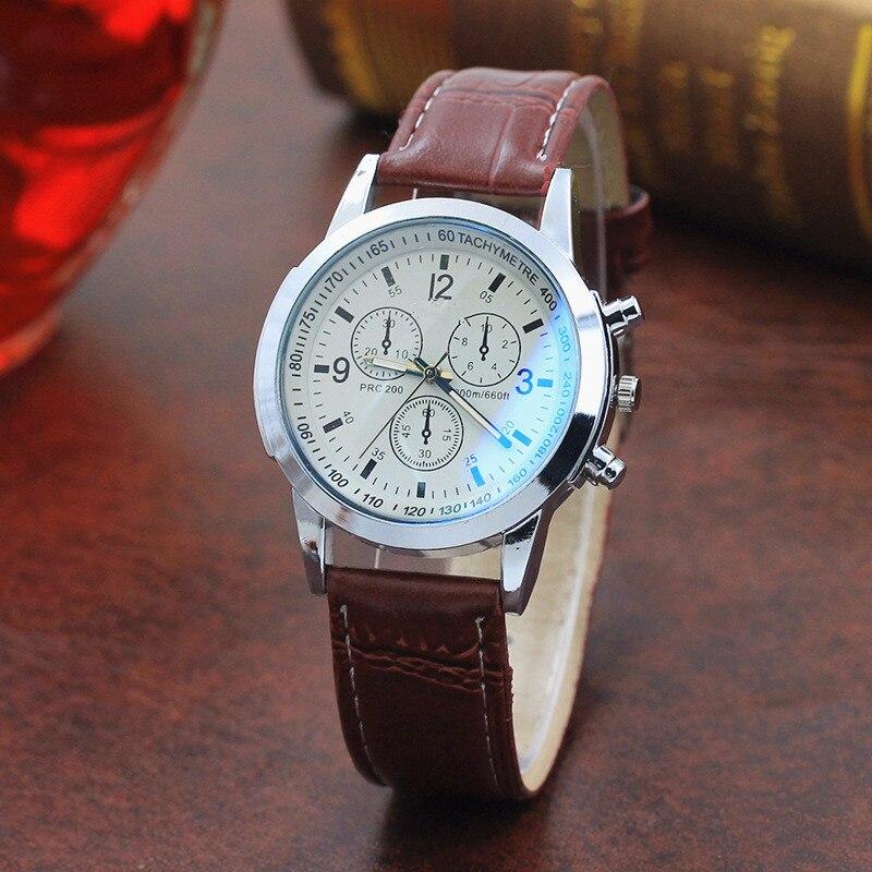 Top Brand Fashion Featured Quartz Watch Three Eyes Watch Quartz Men's Watch Leather Belt Men's Black White Glass Belt Men