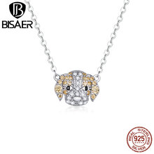 BISAER Love Dog Pendant 925 Sterling Silver Trendy New Labrador Shape Long Chain Necklace for Women Girls Jewelry HVN170