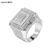 VANAXIN 925 Sterling Silver Ring For Men Big Hip Hop Style Ring Rock Jewellery P