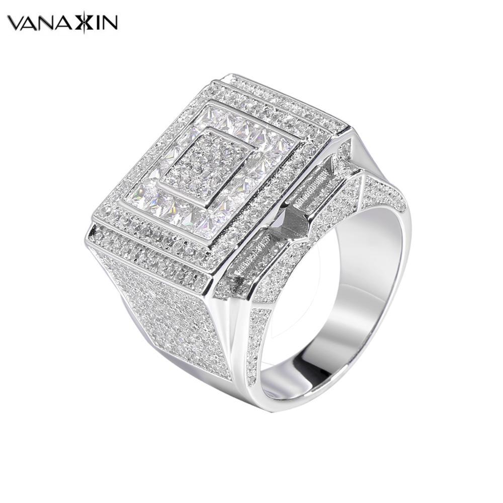 VANAXIN 925 bague en argent Sterling pour hommes grande bague Style Hip Hop bijoux en roche cadeau de fête Zircons cubiques pavé boîte à bijoux de luxe