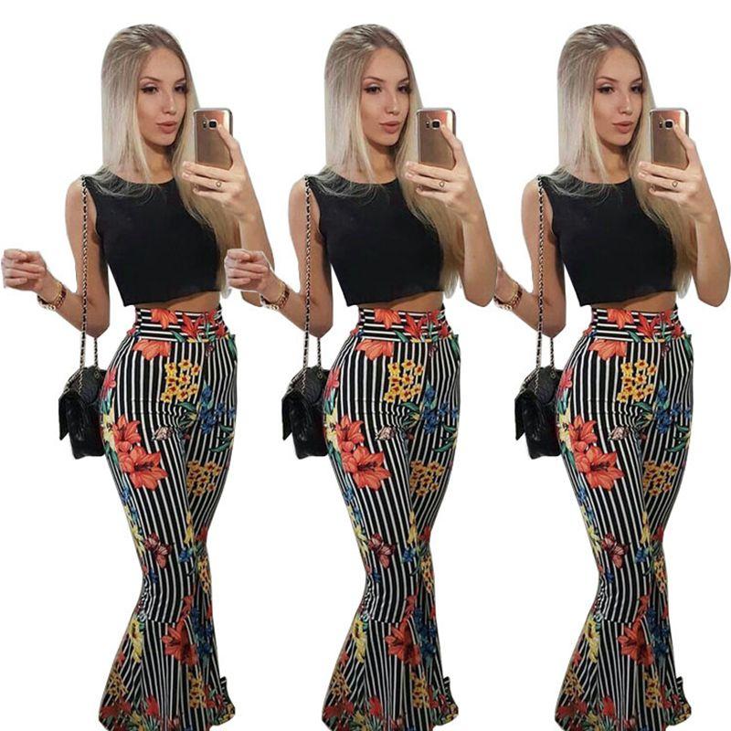 Women Striped Print Loose Full Pants Crop Top Summer 2 Piece Set For Female Women Two Pieces Sets Women's Suits S M L XL XXL