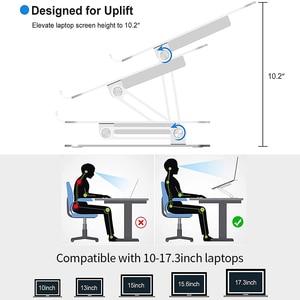 Image 4 - מתכוונן אלומיניום סגסוגת מעמד מחשב נייד עם קירור מאוורר מתקפל החלקה בעל מחשב נייד תואם עם 10 17.3 אינץ מחשב נייד