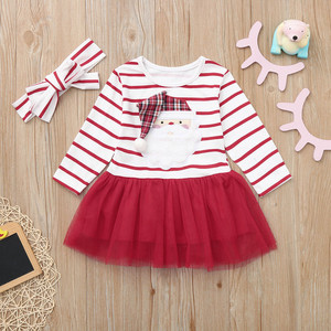 New girls clothes Infant Baby Girls Cartoon Santa Christmas XMAS Striped Tutu Tulle Dress Outfits roupa infantil#guahao