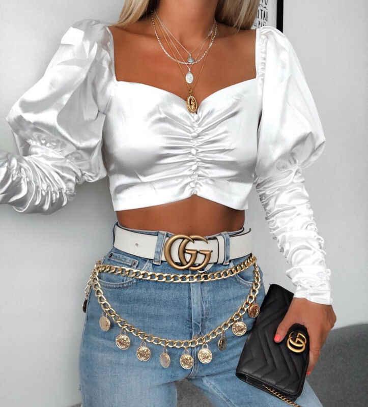 Kobiety lato wzburzyć z długim rękawem T-Shirt solidna Puff stałe placu szyi panie luźne na co dzień Sexy Crop Top