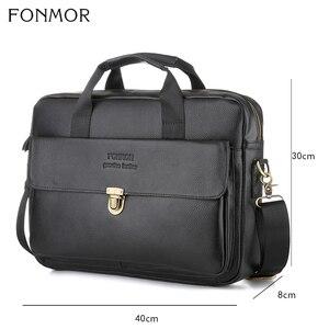 Image 2 - Fonmor Fashion sac messager pour ordinateur portable, fourre tout mallette en cuir, en cuir de vache, fourre tout Business, sacoche à main de bureau