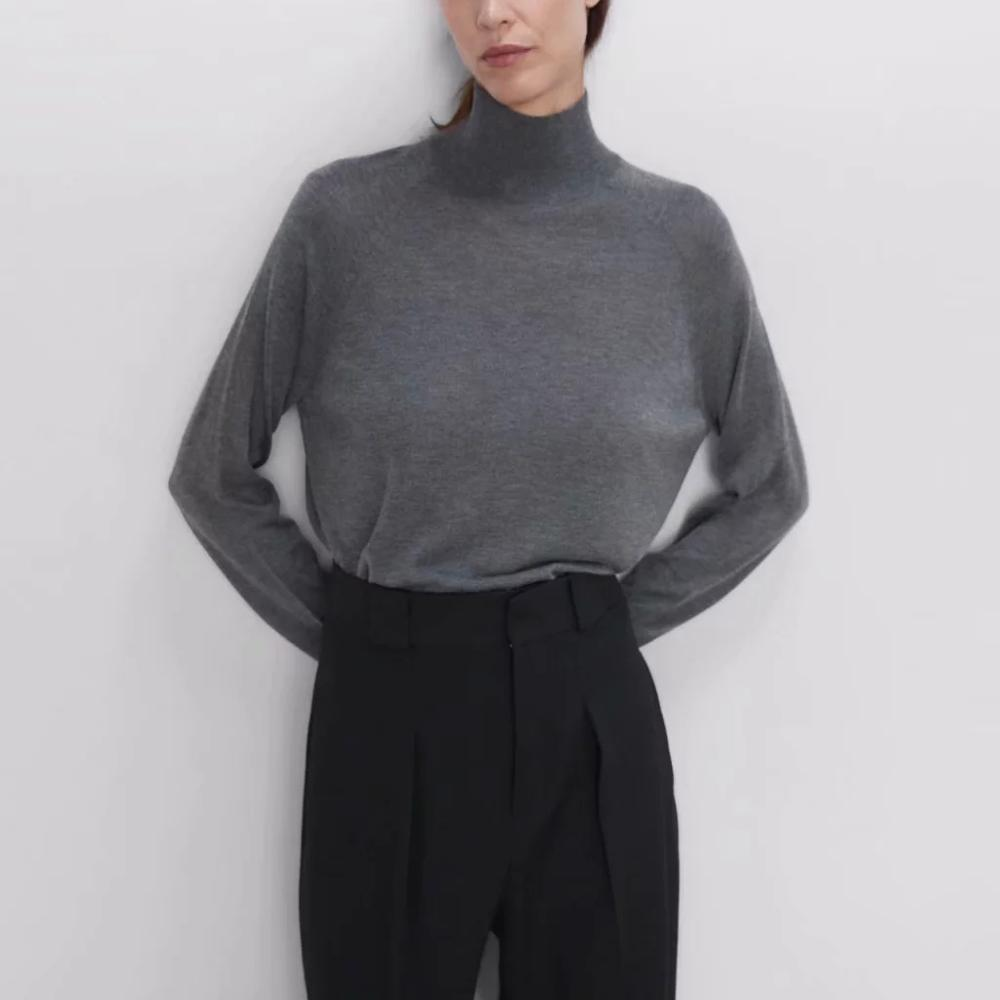 Autumn Knitted High Neck Sweater Women Turtleneck Solid Casual Stretch Sweater ZA Style Femme Tops
