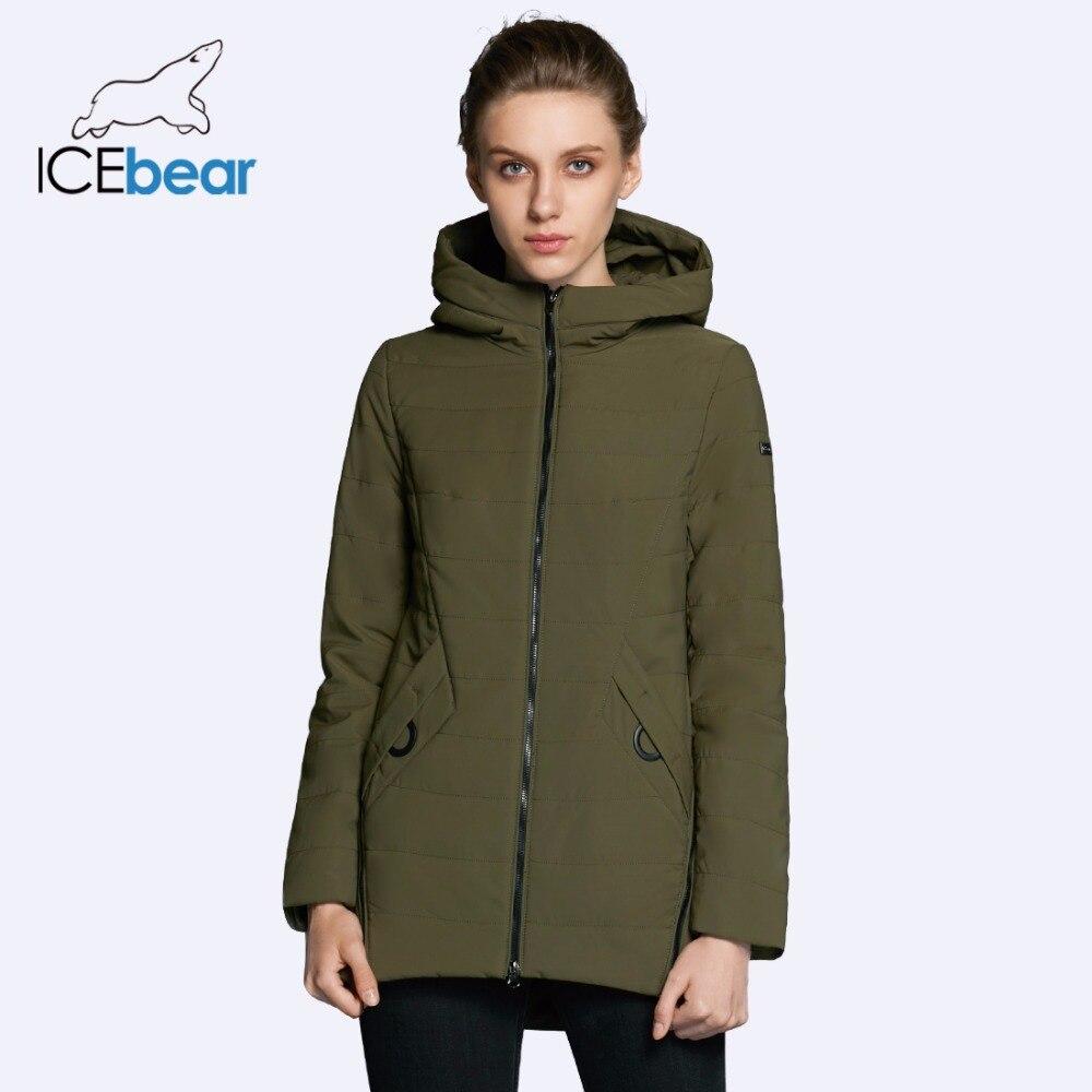 ICEbear 2019 nouvelle veste femme automne femme manteau mode femme coton denim couleur zipper design de haute qualité manteaux GWC18135D-in Parkas from Mode Femme et Accessoires    1