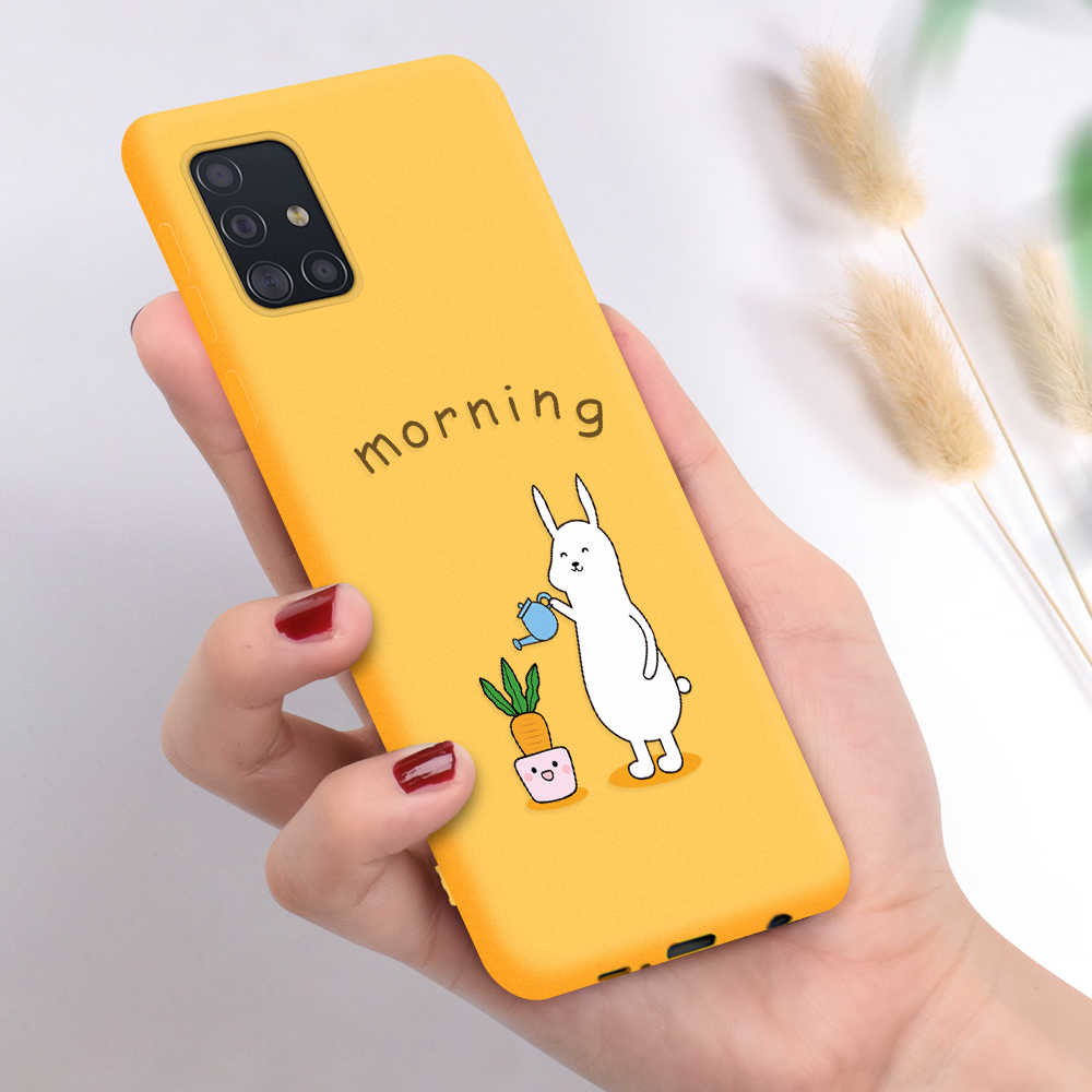 Silikon untuk Samsung Galaxy A71 A51 S20 Plus S20 Plus Ultra Note10 Note8 Note9 Lembut TPU Penutup Belakang