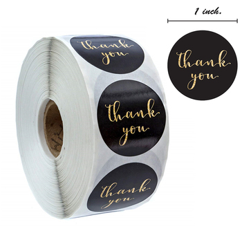 500pcs/roll Gold Foil Thank You Sticker Scrapbooking For Envelope Seal Labels Stickers Pink White Background Stationery Sticker