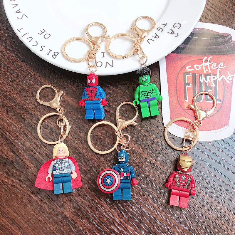 Lego Justice League Superman Jedi KeyChains Avengers Building Block Key Chain Lovers Creativity Bag Key Ring People Best Gifts