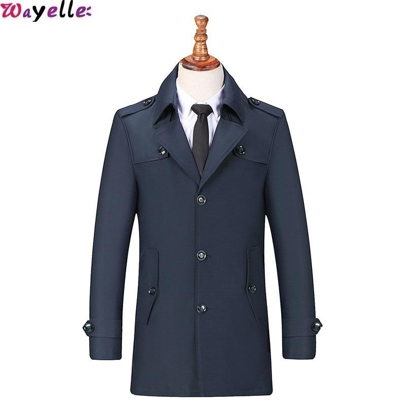 England Style Long Trench Coat For Men 2019 Fall Winter New Smart Business Long Jacket Coat Men Casual Windbreaker Long Coat Men