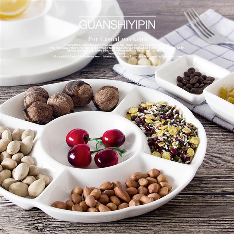 9-дюймовый 5-секционный Меламиновый поддон для хранения продуктов, сухофрукты, закуска, Сервировочная тарелка для конфет, кондитерских орехов-0