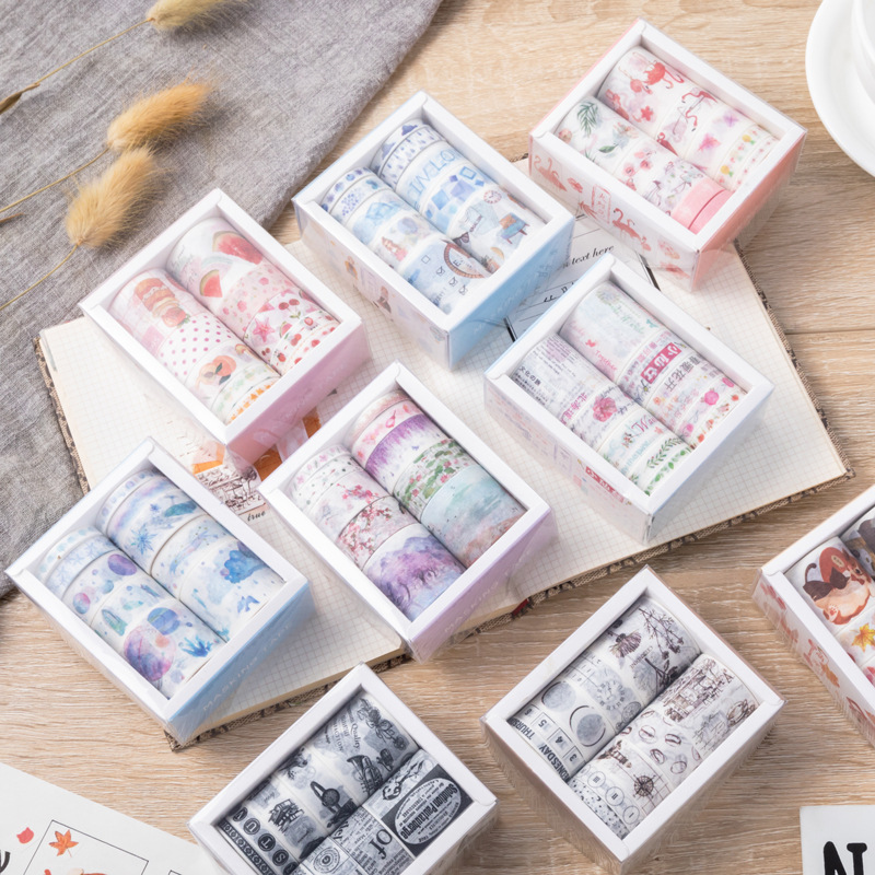 Masking Tape 10pcs Decorative Flamingo Jellyfish Coral Kawaii Masking Washi Tape Set Scrapbook Adhesive Tape Japanese Stationery