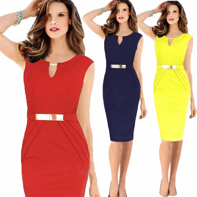 BacklakeGirls 2020 Round Neck Solid Color Women Cocktail Dress Sleeveless Knee Length Women Dress Robe Cocktail