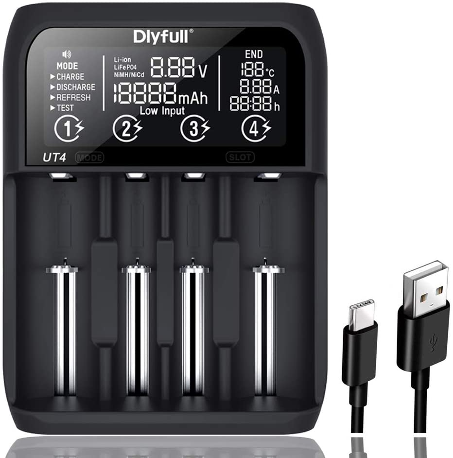 Dlyfull UT4 Intelligent Universal Charger for Li-ion  Ni-MH  LiFePO4 16340186502170032650 AA AAACD Batteries