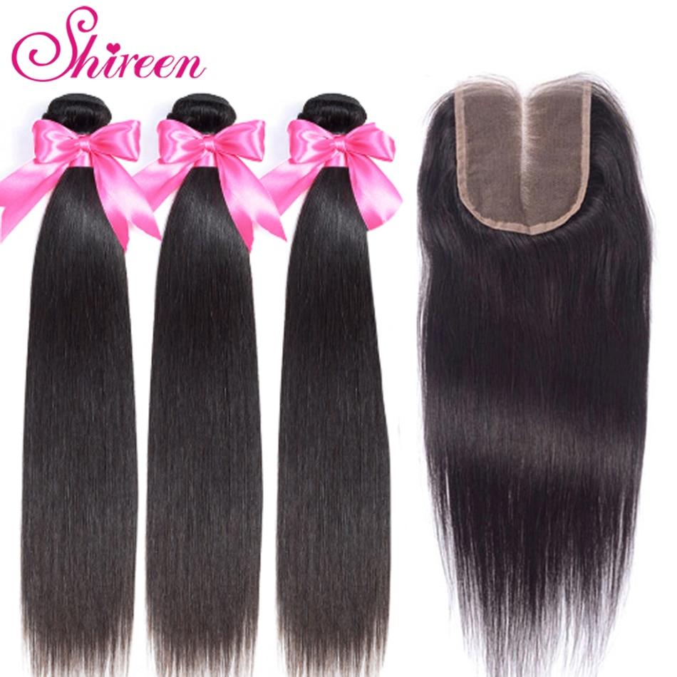Shireen Brazilian Straight Hair Bundles With Closure 3 Bundles With Closure 4pcs Brazillian Hair Weave Bundles With Closure Remy