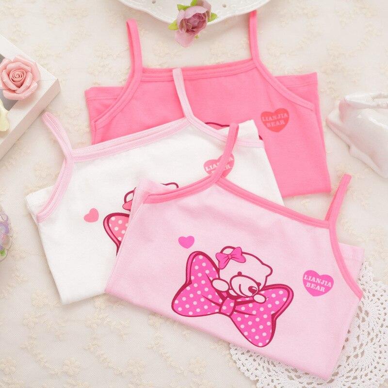 3pcs/Lot Summer Kids Girl Shirts Tops Cotton T-shirt For Children Girl Cartoon Print Tops Underwear Kids Baby Undershirt Singlet