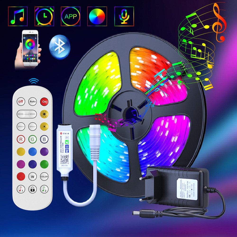 Светодиодная лента RGB 5050, водонепроницаемая Диодная лента, 25 м, 10 м, 5 м, гибкая светодиодная лента, адаптер постоянного тока 12 В + ИК-пульт дист...