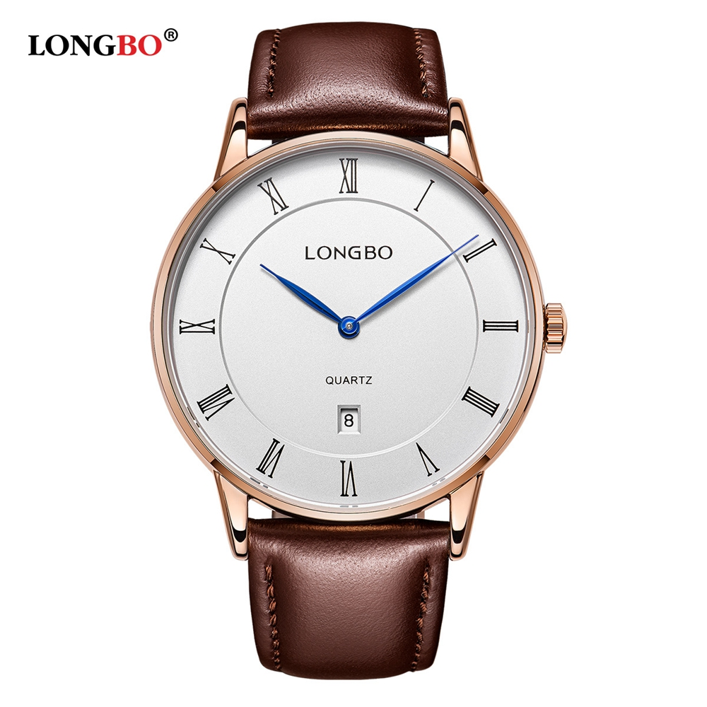 LONGBO Mens Watches Top Brand Luxury Waterproof  Leather Strap Male Watch Japanese Movement Quartz Wristwatch 2020 Gift For Men