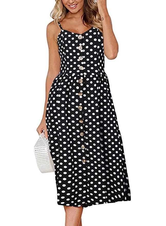 Boho Sexy Floral Dress Summer Vintage Casual Sundress Female Beach Dress Midi Button Backless Polka Dot Striped Women Dress2020  10