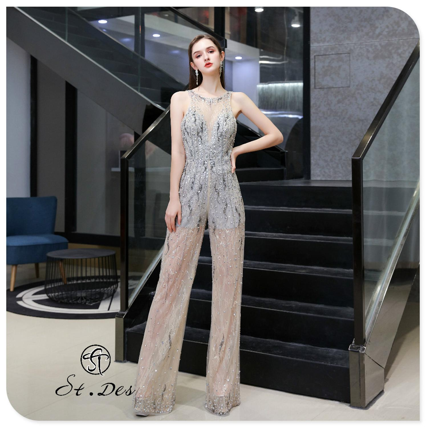 S.T.DES Evening Dress 2020 New Arrival Siamese Trousers V-Neck Sliver Sleeveless Floor Length Party Dress