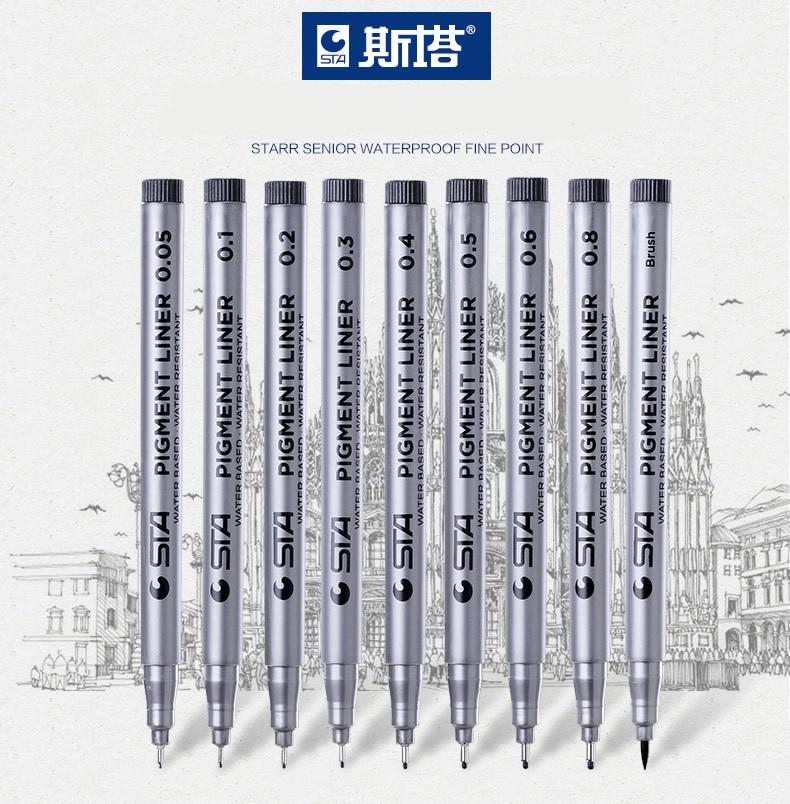 STA 8050 Needle Pen Ink Pen 0.05/0.1/0.2/0.3/0.4/0.5/0.6/0.8/Brush Drawing Sketching Pigment Liner Pigma Waterproof Fine Point