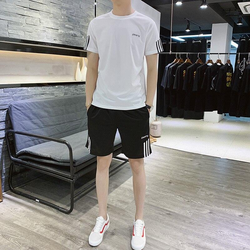 Summer Men Crew Neck Three Bars Lettered Quick-Dry Short Sleeve Set Large Size Leisure Sports Suit Men's