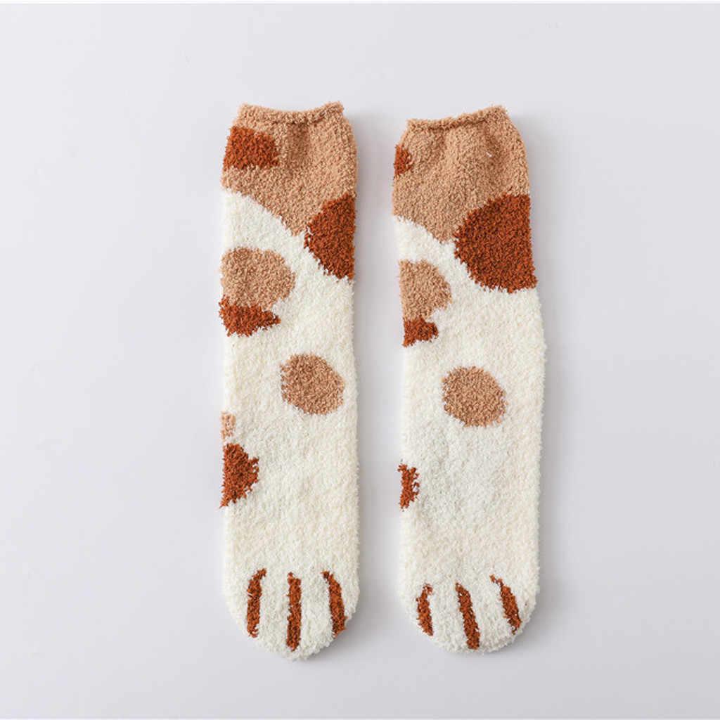 Womail długie skarpetki damskie zimowe piękne kotki pazur koralowe damskie skarpety zestaw ciepłe skarpetki dla kobiety zima