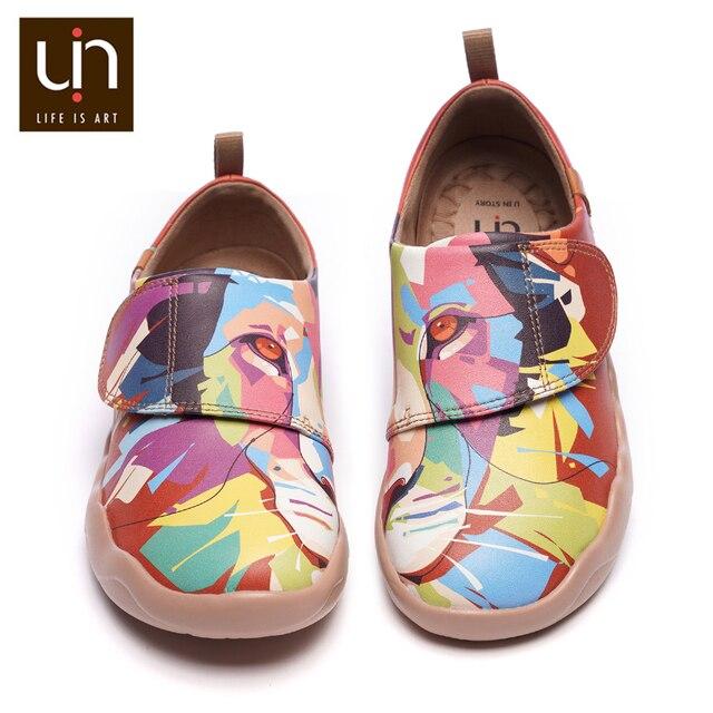 UIN Bunte Gemalt Lion Design Kinder Schuhe Mikrofaser Leder Mode Turnschuhe für Jungen/Mädchen Marke Schuhe Kinder Weiche Wohnungen
