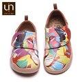 UIN coloridos diseños de León pintados zapatos para niños zapatillas de moda de cuero de microfibra para niños/niñas zapatos de marca pisos suaves para niños