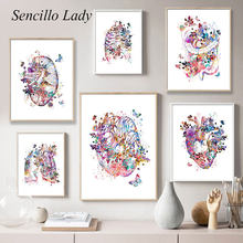 Renkli çiçek insan vücudu anatomisi tuval boyama beyin kalp Organ tıbbi eğitim posteri soyut baskı duvar sanat resmi