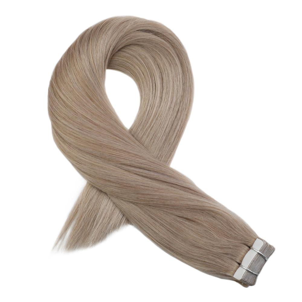 Moresoo Tape In Hair Extensions Real Remy Brazilian Human Hair Skin Weft Ash-blonde #18 25G-100G 2.5g/pcs