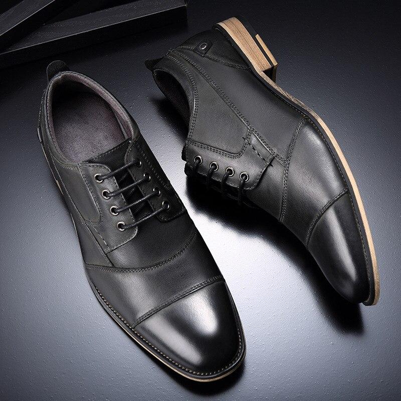 Hommes chaussures décontractées Top qualité Oxfords hommes en cuir véritable robe chaussures affaires chaussures formelles chaussures plates pour homme grande taille fête de mariage - 4