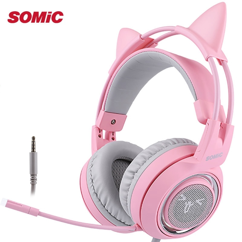 SOMIC G951S Pink Cat Headphones Noise Cancelling Wired Gaming Headset Vibration 3.5mm Headset with Mic for PC image