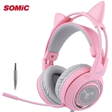 SOMIC G951S Pink Cat Headphones Noise Cancelling Wired Gaming Headset