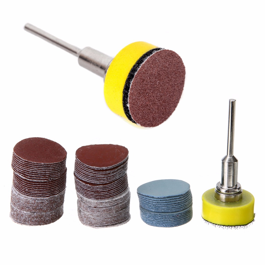 100pcs Sanding Discs + 1inch Abrasives Hook Loop Backer Plate with 1/8inch Shank Set Abrasive Tools