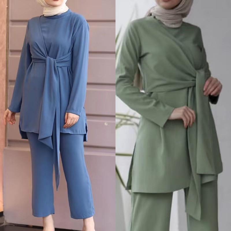 2 Pieces Dubai Muslim sets islamic ribbon tops + pant suits female kaftan Turkish Hijab Muslim islamic dress ramadan ropa F1789