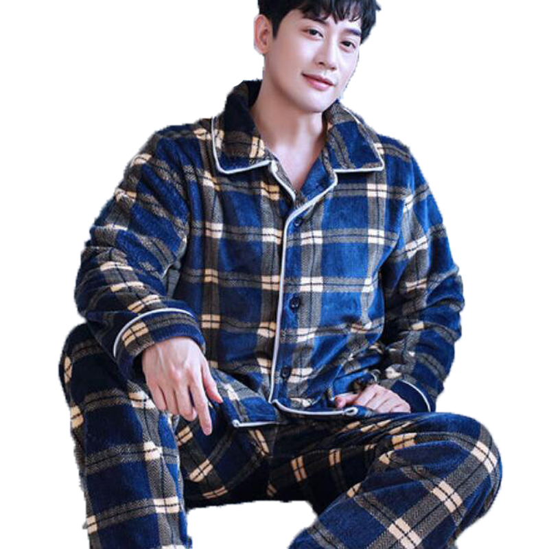 Autumn Winter Flannel Pajamas For Men Sleepwear Thick Warm Coral Fleece Plaid Pyjama Set Men Nightwear Kimono 3XL Home Clothing