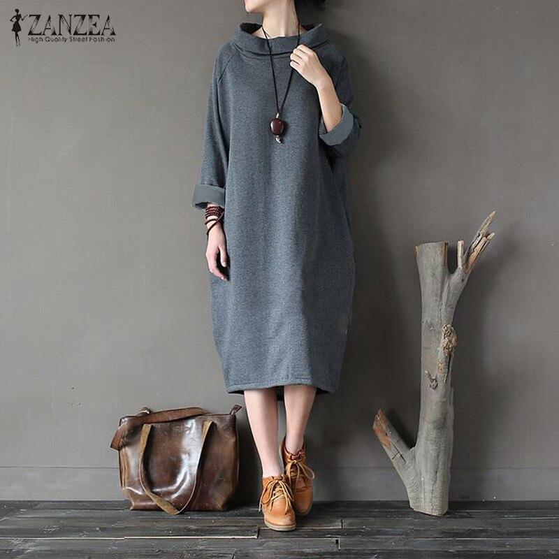 2019 Plus Size ZANZEA Winter Fleece Pullover Sweatshirt Dress Autumn Women Casual Solid Turtleneck Long Sleeve Loose Vestido