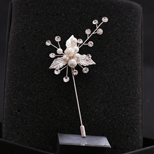 TRiXY XZ01-S  Elegant Silver Leaf Wedding Corsage Bridegroom Brooch Boutonniere Women Brooch Shinny Crystal Grooms Boutonniere