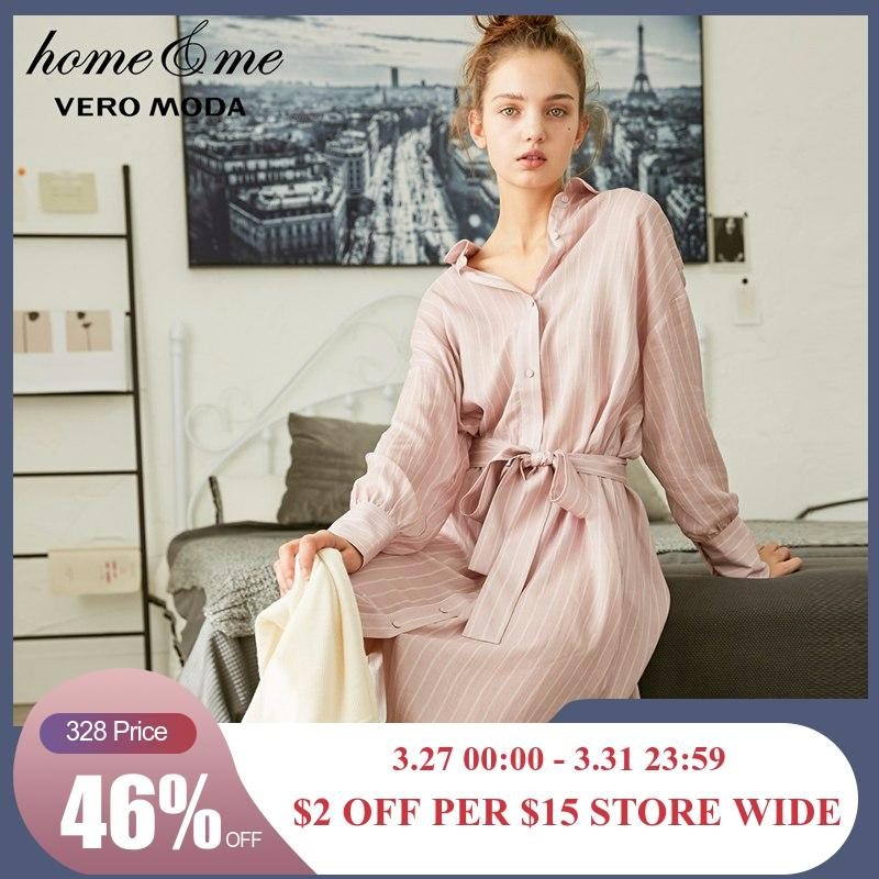 Vero Moda New Striped Off-the-shoulder Pure Shirt Dress | 3183SZ508
