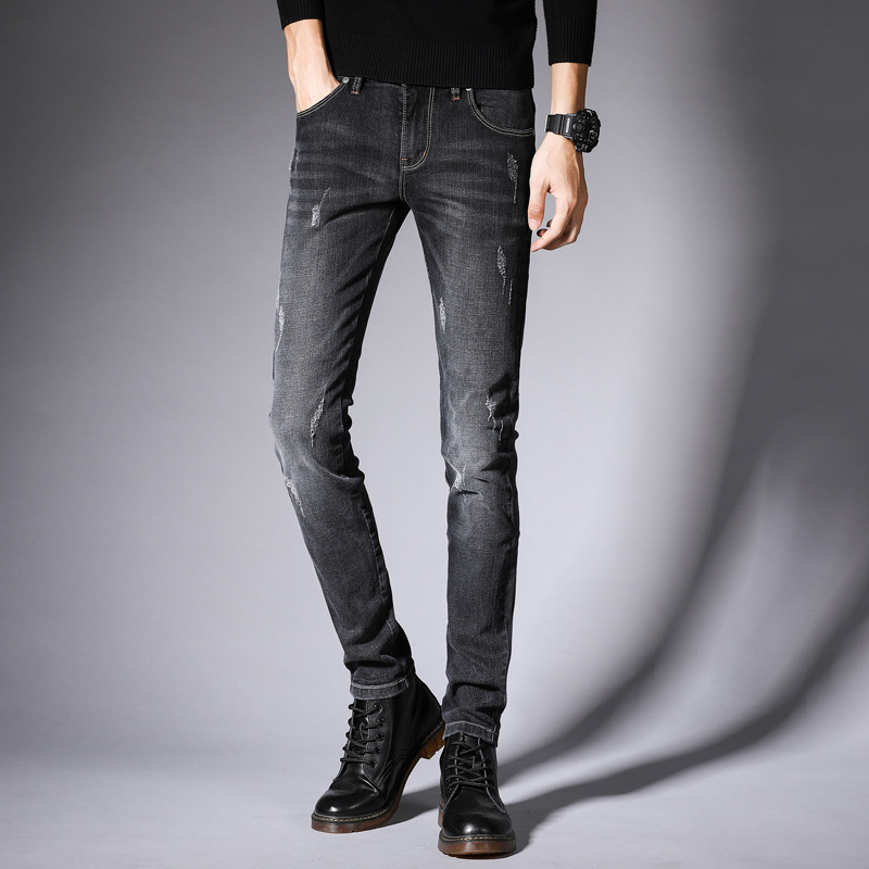Autumn And Winter New Style Jeans Men's Elasticity Skinny Pants Fashion Man