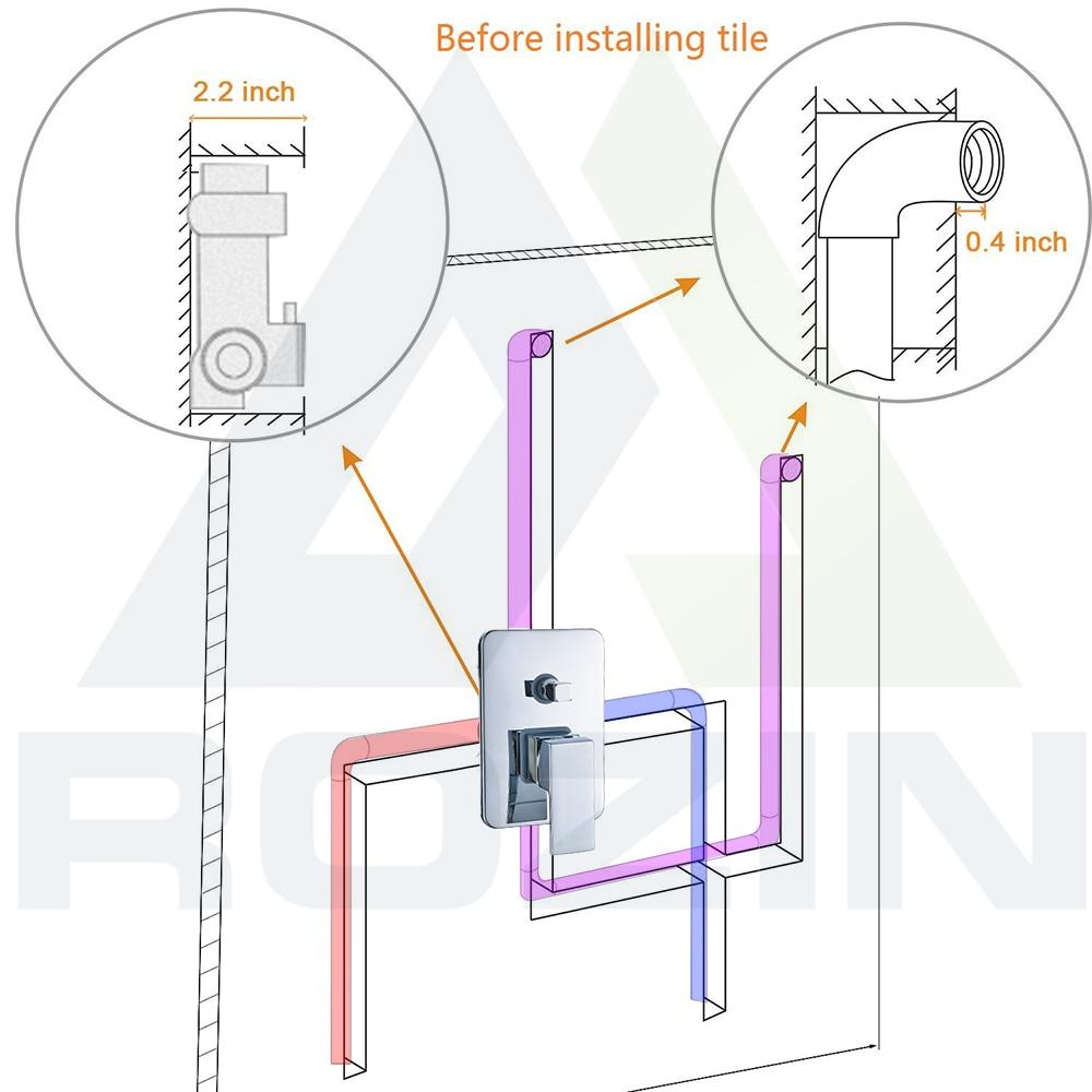 Hd3d542a166c241478d11af74385bd337M Rozin Wall Mount Rainfall Shower Faucet Set Chrome Concealed Bathroom Faucets System 16'' Head with Swivel Tub Spout Mixer Tap
