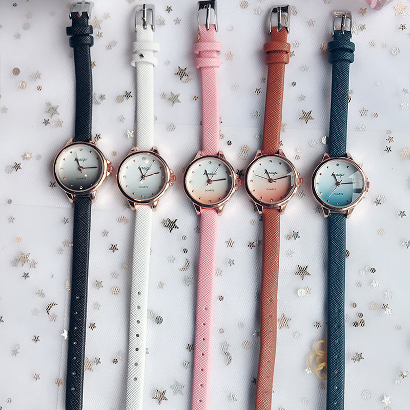 Gradient Jelly Color Cute Dial Watch Leather Strap Fashion Wild Literary Women Girls Student Wrist Watches Gift