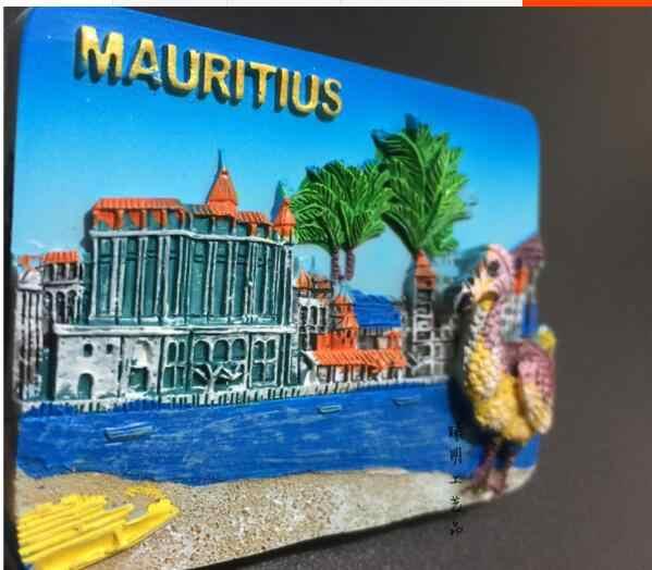 Mauritius mundo viagem lembrança alívio pintado à mão resina 3d geladeira adesivos magnéticos para casa decorações