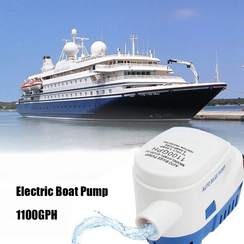 12V Auto <font><b>Bilge</b></font> <font><b>Pump</b></font> <font><b>1100</b></font> <font><b>GPH</b></font> Automatic Boat <font><b>Pump</b></font> for Aquarium Submersible Seaplane Motor Homes Houseboat Boat image