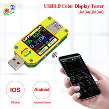 Rd um34 um34c para o aplicativo usb 3.0 tipo c dc voltímetro amperímetro tensão medidor de corrente bateria carga medida cabo resistência tester