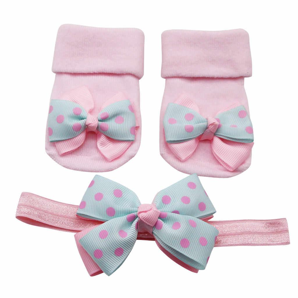 Pasgeboren Baby Sokken + 1 Pc Haar Riem Peuter Meisjes Boog Golf Punt Anti-Slip Sokken Носки Детские ##2