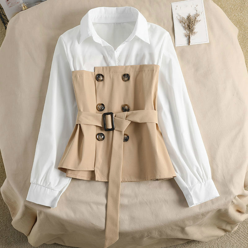 Neploe 2021 Autumn Fake Two Pieces Women Shirt Double Breasted Sashes Slim Korean Blouse Patchwork Pullover Blusas Top|Blouses & Shirts| - AliExpress